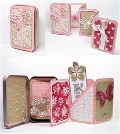 The challenge was to make a mini book and I used this SCS Tutorial:  http://www.splitcoaststampers.com/resources/tutorials/mini_accordian_album_tin/   This was just pure fun to make lots of little textured and stamped and designer paper cuties.