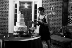 Elegant wedding cake, petals, lace and monogram cake i made for client // jen + ashley photography