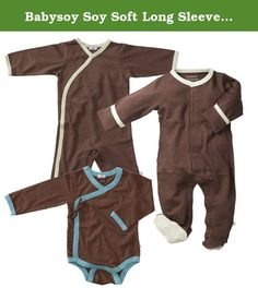 Babysoy Soy Soft Long Sleeve Kimono Bodysuit, Footie and Onepiece Set in Chocolate (0-3M). Save when you buy as a set. Set includes 1 long sleeve kimono bodysuit, 1 footie & 1 onepiece 50% cotton + 50% azlon from soy Eco friendly, fairly made, affordable, quality baby clothes Machine wash & dry cold.