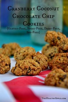 Cranberry Coconut Chocolate Chip Cookies {Gluten-Free, Sugar-Free, Dairy-Free, Soy-Free} #glutenfree