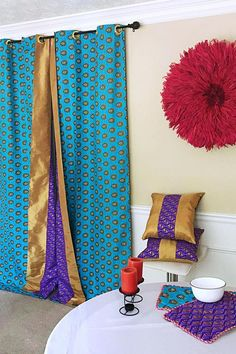 Get 2 African print curtains for the price of Your house don't have to be so conventional. Our awesome African Print double side window curtains transform a neglected essential into an awesome statement piece. Featuring a double-sided print. Purple Curtains, Cool Curtains, Curtain Fabric, Window Curtains, Printed Curtains, Printed Cushions, Purple Gold, Green And Purple, Diy African Jewelry
