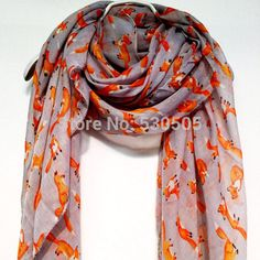 >> Click to Buy << Fox Light Grey fox Autumn / Spring Summer Scarf 10pcs/lot free shipping by e-packet #Affiliate