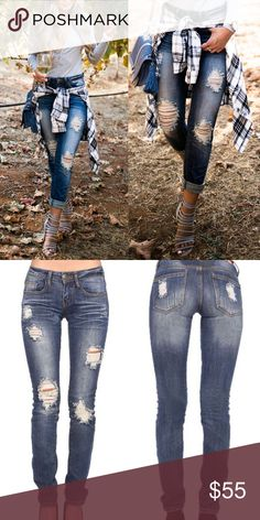 Nancy distressed skinny jeans - MED WASH Med wash distressed skinnies. Super comfy. EACH PAIR WILL HAVE UNIQUE DISTRESSING   * Fabric 97% Cotton 3% Spandex   NO TRADE  PRICE FIRM Jeans Skinny
