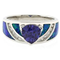 Australian Opal Ring with Tanzanite