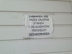 Kartka na ścianie sklepu - wieś Grzebowilk (k.Mińska Maz.) :-)