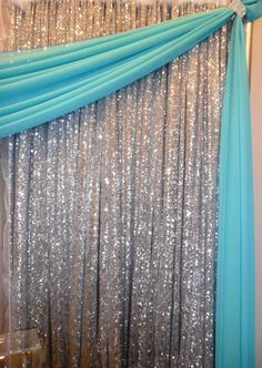 silver sequin backdrop with tiffany blue draping www.nor-valevents. Tiffany Blue Party, Tiffany Theme, Tiffany Wedding, Wedding Blue, Trendy Wedding, Tiffany Blue Weddings, Tiffany Blue Quince, Tiffany Blue Decorations, Bling Wedding Decorations