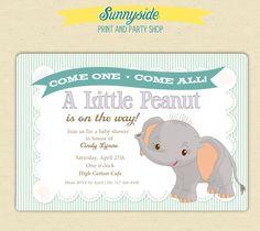 Little Peanut / Elephant Baby Shower Invite / 1st Birthday  - Printable. $15.00, via Etsy.