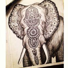 Elephant mandala- view of the body Indian Elephant, Elephant Art, Elephant Tattoos, Buddha Elephant, Chakra Tattoo, Tattoo Blog, I Tattoo, Mandala Tattoo, Future Tattoos