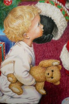 Close-up of boy with Santa in 'The Visit' by Mary Clare