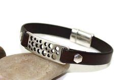 Men's leather bracelet  ID bracelet  men's by LuckyBeadsBox