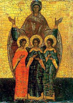 Icon of Holy Martyrs Faith, Hope, Love and Their Mother Sofia.  Свв. мъченици Вяра, Надежда, Любов и тяхната майка София. Руска икона. Religious Icons, Faith Hope Love, Saints, Blessed, Christian, Painting, Wellness, Architecture, Health