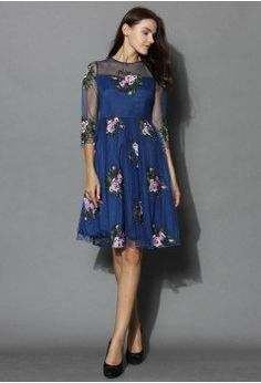 Cherished Rose Embroidered Mesh Dress - Retro, Indie and Unique Fashion