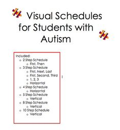 Great Visual Schedules for Students with Autism