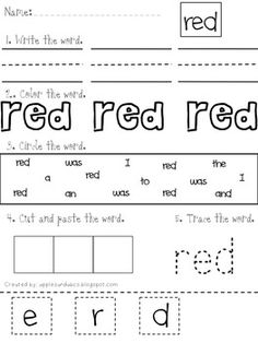 This packet includes 10 color words to print, trace, color, find, and cut and paste. The words included are: red, yellow, green, blue, black, orange, pink, white, purple and brown. I like to introduce color words before I introduce the basic sight words. This helps the students understand that print carries meaning if they haven't been exposed to it before.