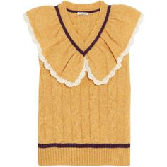 Miu Miu Ruffled-collar cable-knit wool sweater (23.370 CZK) ❤ liked on Polyvore featuring tops, sweaters, beige sweater, mustard sweater, cable-knit sweater, wool sweaters and striped shirt