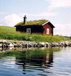 This cottage is found in Storsjö in the province of Härjedalen. Sweden. Scandinavian Countries, Scandinavian Home, Sauna House, About Sweden, Sweden Travel, Nature Water, Aldea, Red Houses, Cabins And Cottages