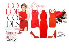 """""""Woman in red."""" by nurinur ❤ liked on Polyvore featuring Jay Godfrey, Boohoo, Charlotte Olympia and Christian Louboutin"""