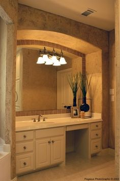 Master bathroom vanity with makeup area design pictures for Bathroom remodelers in my area