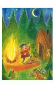 Kunstkarte - Märchen - Rumpelstilzchen am Feuer