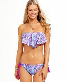 Hula Honey Ruffled Bandeau Bikini Top Side-Tie Bottoms - Swimwear - Women - Macy's