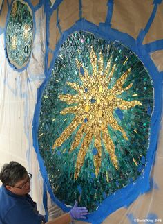Installation of 'VisionShift' mosaic by Sonia King Mosaic Artist--- LOVE, LOVE...