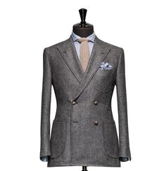 VBC 1663 - A men's grey double breasted casual blazer in pure wool. Tailored Jacket, Tailored Suits, Jacket Style, Jacket Dress, Mens Fashion Suits, Men's Fashion, Bespoke Tailoring, Grey Outfit, Casual Blazer