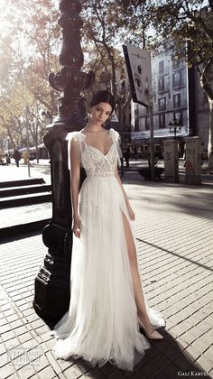gali karten 2017 bridal cap sleeves thin strap sweetheart neckline heavily embellished bodice side slit tulle skirt romantic a  line weddind dress open v back sweep train (5) mv  -- Gali Karten 2017 Wedding Dresses