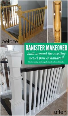 Stair Banister Renovation Using Existing Newel Post and Handrail Stair Banister, Banisters, Replace Stair Railing, Staircase Banister Ideas, Railings For Stairs, Painted Banister, Black Stair Railing, Home Renovation, Home Remodeling
