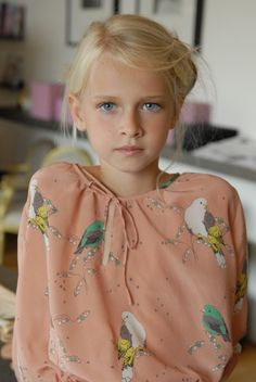 Beautiful silk bird blouse from Lamantine Paris. #estella #kids #fashion