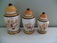Vintage Ceramic Asian Ginger Jar Canister Set by TheRetroRemedy on Etsy, $49.00