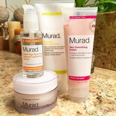 #Renew,# Smoothe, #Brighten and #Moisturize with these 4 #Murad #skincare best sellers.  1. #Renewing #Cleansing #Cream - Ultra #moisturizing #wash gently #exfoliates and renews skin's #youthful #glow. #Restores and #protects skins #natural moisture barrier.  2. Skin #Smoothing #Polish - Deeply exfoliates to leave skin #soft and #smooth. Helps relieve congested #pores.  3. #Rapid #Age #Spot & Pigment #Lightening #Serum   4. #Hydro-Dynamic #Ultimate Moisture