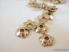 25 Antique Silver Bead Cap Flower Tibetan by allearringsandsuppli, $1.95