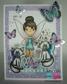 """Quick Creations Inspiration with EXCLUSIVE Paper Nest Dolls """"Fairy Emma"""" and """"Fairy Kittens"""", August 2016, created by Leah Tees, odetopaper.blogspot.ca"""