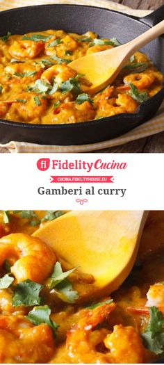 Curry Shrimps- Gamberi al curry Curry Shrimps - – Shellfish Recipes Curry Shrimp, Shellfish Recipes, Cornbread, Thai Red Curry, Macaroni And Cheese, Lunch, Fruit, Cooking, Ethnic Recipes