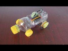 Cómo hacer un coche con botellas de plástico   Banda elástica coche accionado - YouTube