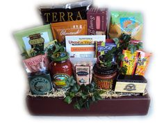 Manly gift basket with healthy gourmet food.