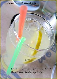 Heartburn soothing drink ! Water + Lemon+ Sodium Bicarb + Ginger = Homemade Antacid .
