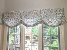 white cottage custom Stationary (non-operable) Relaxed roman shade in Mist on the Vine fabric Kitchen Window Coverings, Kitchen Window Valances, Bay Window Curtains, Home Curtains, Curtains Living, Kitchen Curtains, Kitchen Window Treatments, Custom Window Treatments, Custom Windows