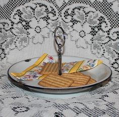 Vintage Enamelware handled plate metal tidbit tray by prettydish
