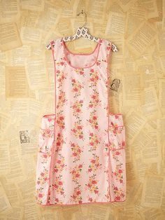 Feminine light pink with roses apron