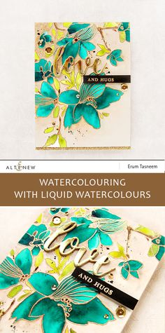 Altenew Sketchy Floral Stamp Set watercoloured with liquid watercolours. Card by Erum Tasneem - @pr0digy0
