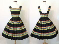 Darling 1950's Cotton Novelty Print Sundress Day Dress with Full Circle Skirt Rockabilly VLV Pinup Vixen Size-Small