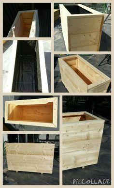 Plantenbak 100x40x60 Wood Planter Box, Wood Planters, Backyard, Patio, Restaurant Ideas, Garden Landscaping, Furniture Ideas, Outdoor Living, Outdoors