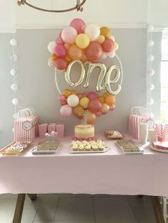 Birthday Girl Birthday balloons one balloon part.- Birthday Girl Birthday balloons one balloon party decorations pink a… Birthday Girl Birthday balloons one balloon party decorations pink and rose gold party pink and gold party balloons balloon hoop - Gold Party, Pink And Gold Birthday Party, 1st Birthday Party For Girls, Girl Birthday Decorations, Girl Birthday Themes, Balloon Decorations Party, Birthday Diy, Birthday Ideas, 1st Birthday Presents