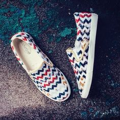 8b78ecee022862 Her Garden Chevron slip on shoes by 3 Red Threads for BucketFeet... shoes