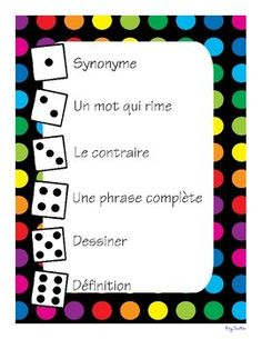 This is a great game for students to practice their vocabulary knowledge and application in French. Can be played in partners, teams, or individually.