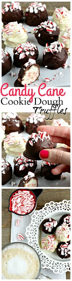 Candy cane cookie truffles are a perfectly festive holiday treat! Easy to make with white cake mix & candy cane pieces. Candy cane cookie truffles are a perfectly festive holiday treat! Easy to make with white cake mix & candy cane pieces. Christmas Truffles, Christmas Desserts, Christmas Treats, Christmas Baking, Holiday Treats, Christmas Cookies, New Year's Desserts, Tolle Desserts, Köstliche Desserts