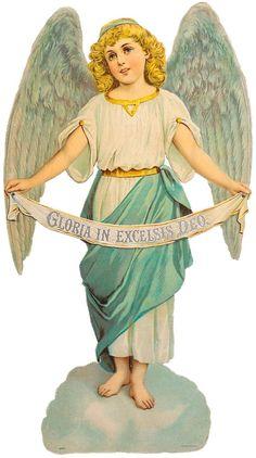 Glanzbilder - Victorian Die Cut - Victorian Scrap - Tube Victorienne - Glansbilleder - Plaatjes : Engel mit Spruchband