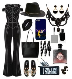 """Flares in Black"" by rock-my-hillbilly ❤ liked on Polyvore featuring Hervé Léger, Eugenia Kim, Dune, Street Level, SugarLuxeShop, Lime Crime, Gucci, Warehouse, Givenchy and Yves Saint Laurent"
