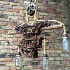 Industrial lighting lamp Steampunk Light Chandelier Hay Trolley Mason Jar